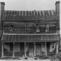 Image of Edwards Franklin House - Edwards-Franklin House, Lowgap.  Photographed by Francis Andrews in 1973, before major renovation by the Surry County Historical Society.  Due to large size of picture, it was necessary to scan it in two sections.