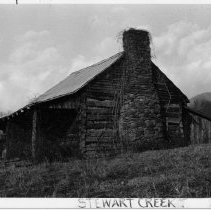 Image of Log House - Log house with loft, shed-roofed porch, also frame shed room across rear of building.  Stewart Creek Township, State Road 1602, State Record 257.