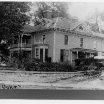"Image of Jesse Franklin Graves House - Jesse Franklin Graves House, ""The Oaks"" on Rockford Street, Mount Airy.  Side view.  A horse and buggy with a young boy seated in the buggy can be seen beside the house.  There are also two very small, old prints in poor condition, which have been copied for additional information.  The house is now demolished."