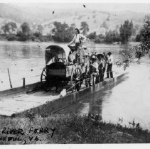 Image of Jackson's Ferry - Jackson's Ferry, Virginia, across the New River near Wytheville.  A covered wagon and several men are on the ferry.
