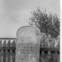 """Image of Bunker Tombstone - Tombstone of Eng and Chang Bunker in front yard of Chang's house.  Note on back of picture reads: """"1874 - to around 1924 moved to White Plains."""""""