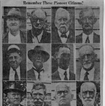 Image of Pioneer Citizens - Pioneer citizens of Mount Airy: Joe Tesh, Jim Edwards, Zachary Smith, Allen Spargr, Matt Moore, W. E. Merritt, Cullen Merritt, B. F. Sparger, J. H. Fulton, Jimmy Schaub, Dr. R. E. Hollingsworth, W. L. Gwyn, Will Haynes, Rev. D. Vance Price, J. E. Barker, Caleb Haynes.  Newspaper clipping.