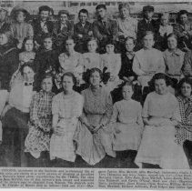 """Image of Miss Bess Merritt's Class - 1910 newspaper copy of Miss Bess Merritt's class at Rockford Street School, Mount Airy.  The caption at the bottom of the picture reads, """"MANY GRANITE CITIANS (sic), prominent in the business and professional life of Mount Airy and this area, are shown in a 1910 picture of students at Rockford Street School, Bob Watson's latest photo reproduction for the TIMES.  The class was taught by Miss Bess Merritt, one of this section's best known and respected educators."""" First row: Margaret Taylor, Miss Merritt, Allie Marshall, (unknown), Carrie Jones, Alma Caudle, Vera Thompson, Alice Jones.  Second row: Vera Davis, Thelma Saunders, Margaret Gentry, Alice Hale, Kate Mitchell, Lessie Smith, Ethel Cox, Guilda Parks, Lois Haymore, Carrie O'Neal.  Third row: Haywood Merritt, Herman Davis, (unknown), Jesse Hogan, Clyde Hooker William McCargo, Thomas Ashby, Penn Marshall, Herbert Jefferies, Fred Folger, Collier Sparger. (Source, John W. Prather)"""