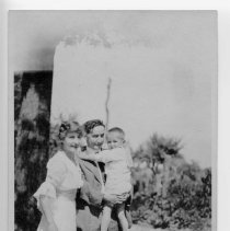 "Image of Family - Two adults and a young boy.  Informatin on the back of the picture reads: ""1st cousins.  Gertrude Young of Greensboro, who married J. Will Prather of Mt. Airy.  Edwin Clyde Banner, Sr. (Ed), with Edwin C. Banner, Jr. (Clyde) in Mt. Airy about 1917."""