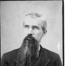 """Image of Madison """"Matt"""" Hines - Portrait of a gentleman with a long beard, identified as Madison """"Matt"""" Hines, 1849-1895..  Information on the back of the picture further identifies him as """"Uncle Matt Hines, cousin Edsl (?) Hines' father, Milledgeville, Georgia.  He was married in 1872 to Frances Jane Roberts, b.1854 - d.1896.  """"Matt"""" was an older brother of Cordelia Hines, who married Wilcher Cardwell Banner."""""""