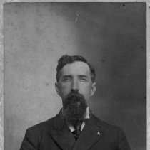 Image of Robert Bentley Hines - Gentleman with a long beard, wearing a double-breasted jacket.  Informatin on the back of the photo identifies him as Robert Bentley Hines, 1856-1905, who married Margaret Alice Luella Ward in 1881.  He was a younger brother of Cordelia Hines, who married Wilcher Cardwell Banner.