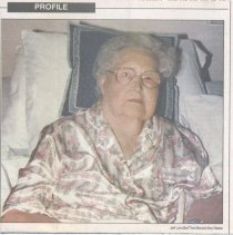 Image of Fannie Fowler - Newspaper photo of Fannie Fowler, retired school teacher and longtime Pilot Mountain resident.  An article in Pilot Mountain folder # 2004.2.012  has an interview the Mount Airy News did when she was 97 years old.