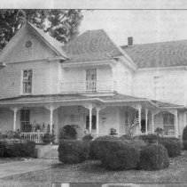 Image of Dr. Flippin's Bed and Breakfast - Dr. Flippin's Bed and Breakfast, Main Street, Pilot Mountain, from a picture in the Mount Airy News.  The bed and breakfast  was opened in 1997, when Michigan native Charlotte Adkins had the home renovated after it had served as several things, including a Mormon church, bdginning in 1955.