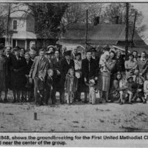 Image of First United Methodist Church, Pilot Mountain - First United Methodist Church, Pilot Mountain.  Newspaper copy of photo taken on April 5, 1948, shows the groundbreaking.  Fannie Fowler is pictured near the center of the group.  For more information, see Pilot Mountain folder # 2004.2.012.