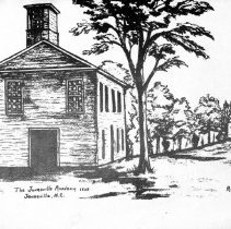 Image of Jonesville Academy - Jonesville.  Notecard picturing the Jonesville Academy, which was established in 1818.  At one time, children came from as far away as Alabama to attend this school.  Sketch by R. Ghant.