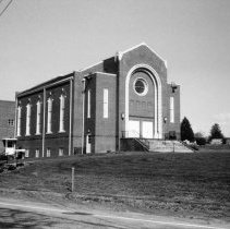 Image of Elkin Valley Baptist Church - Elkin.  Elkin Valley Baptist Church,  North Elkin Drive,  built during the 1950s.  Picture made in 1989.