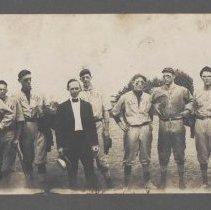 Image of Elkin 1914 Baseball Team - Elkin.  1914 baseball team.  Players are identified as: Ray Brandon, Frank Yow, Jim Greenwood, Rom Llewellyn, Ab Bivins, Joe Elam (Mgr), Joe Bivins, Hall Bell, Charlie Crater, Joe Bray, George Royall, Edworth Harris.  From the W. W. Whitaker Collection.