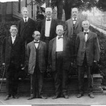 Image of Elkin Town Commissioners - Elkin.  Town Commissioners, ca. 1900.  Front row: Mr. Tommy Gwyn, Mr. Gilvin Roth, Dr. Joseph Washington Ring, Mr. A. G. Click.  second row: Mr. Bell, Mr. Alex Chatham Sr., Mr. Tharpe (first police chief).