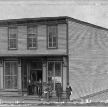 """Image of Fowler Store - Elkin.  N. W. Fowler Store, ca. 1895.  Five men are standing in front of the building.  Note on back of picture reads: """"N. W. Fowler Store burned 1898."""""""