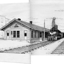 Image of Elkin Depot - Elkin.  A John Furches print of the Elkin Depot, which is no longer standing.
