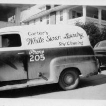 Image of White Swan Laundry - Elkin.  Delivery truck for Carter's White Swan Laundry, Dry Cleaning, 1960.  Signage by local sign maker Gene Aldridge.