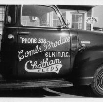 Image of Combs Produce truck - Elkin.  Delivery truck for Combs Produce, Chatham Feeds, 1960.  Signage by local sign maker Gene Aldridge.