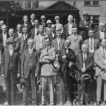 Image of Highway Meeting - Elkin.  Kiwanis Club and highway officials group picture, 1925, celebrating the routing of Highway 51 (later changed to U. S. 21) through Elkin.  This highway was known as the Great Lakes to Florida federal highway.