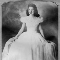 Image of Clara Bell Allred - Portrait of Clara Bell Allred, wearing a long gown,  taken in late 1940s or early 1950s.  Mount Airy