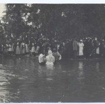 Image of Baptism of Rosa Lee Green Tucker - The baptism of Rosa Lee Green Tucker. This event took place in Lovill's Creek in 1948.  Rosa joined the Stewart's Creek Primitive Baptist Church (Old Hollow).
