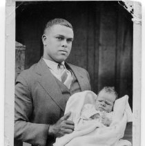 Image of James Boston Tucker and Son - James Boston Tucker (1906-1978) is holding his four-month old son, James Edward Tucker (1936-1996).  James Boston Tucker is the son of Charlie and Ollie Grogan Tucker.