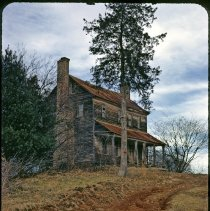 Image of Edwards-Franklin House - Edwards-Franklin house, Haystack Road, Surry County, NC.  Print  from a slide made by Wayne Easter in 1971, before restoration by the Surry County Historical Society.