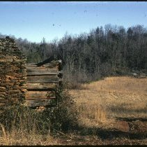 Image of John Coalson Cabin - John Coalson cabin on Banjo Lane near Stewarts Creek, Surry  County, NC.  Ruin of a cabin built about 1880.  Print from a slide made by Wayne Easter in 1971.