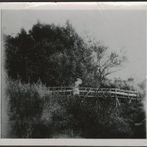 Image of Nellie McNeal on Barbee Creek footbridge