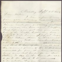 Image of Letter to William H. Judkins Sept 1 1862 p1