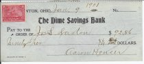 Image of front of check