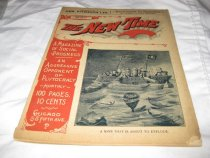 """Image of This magazine is entitled """"The New Time.""""  It was published in May 1898.  The cover is tan with black and red lettering and features a political cartoon of a ship about to sail over an underwater explosive titled """"public indignation"""" with McKinley and his cabinet on board.  The caption reads """"A mine that is about to explode."""" - Magazine"""