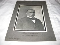 """Image of This is a supplement to """"The Roller Monthly"""" magazine.  It is a small booklet with a black and white image of McKinley on the front. The caption under the photo reads """"William McKinley. Born at Niles, Ohio, January 29, 1843. Died at Buffalo, New York, September 14, 1901."""" The contents contain biographical information on the fallen president. - Magazine"""