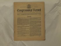 Image of This book is the Congressional record for January 29, 1940. The book is softbound, with staples reinforcing the binding. It is printed on news print. A handwritten note at the top of the front page says there is an article about McKinley on pp 1158-1160.  - Book