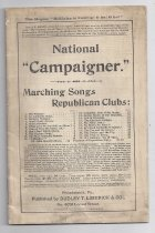 """Image of This booklet contains Marching songs sung/played by Republican Clubs, along with articles entitled: Democrats Killing Off Reciprocity Democratic Free Wool Outrage McKinley and Hobart: Our Candidates Currency Catechism for Voters And Why not Coin Pig Iron? Shocking Populistic Blasphemy Macaulay's Dire Forebodings Campaign Motto for Republicans Republican Songs and Song Campaign Effects of Silver Monometalism REpudiating Civil Service Reform Free Silver Midsummer Madness No """"Wild Cat"""" or """"Red Dog"""" Money Smiling Democrat in South Dakota American Farmers Fair the Worst The Republican Platform Prophetic Words of Hon. Jas. G. Blaine!  Songs include: The Slogan The Alphabet Song Humpty Dumpty Good Night, Grover Hail Columbia What Care We for Gold or Silver? Grover Was His NAme, Sir Baa! Baa! Black Sheep The Cuckoo Song The Star-spangled Banner Lilikaloo John Brown's Body Columbia, the Gem of the Ocean Battle Hymn of the Republic Ark of Freedom The Electoral College My Mary Ann No More! No More! It's Good Umbrella Weather The Fox and the Goose The Spider and the Fly Our Flag is There My Country, 'tis of Thee  - book"""
