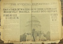 Image of The Evening Repository Front page. Tattered and torn, very fragile. - Newspaper