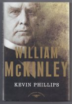 Image of William McKinley's election in 1896 was a breakthrough. It marked the first time in two decades that the Republican party was able to solidify its majority, putting GOP in a position to dominate American politics for a generation. Meanwhile, the presidency had been declining in prestige and power, and McKinley's election restored it to prominece.  In the century since his death, McKinley's accomplishments have been eclisped by the charisma and public appeal of his vice president and successor, Theodore Roosevelt. But, as Kevin Phillips explains, McKinley was a major American president, deserving admission to the second teir, the capable performers below the lofty level of Washington, Lincoln, and FDR. He is among the sixteen U.S. presidents elected to two terms, and he avoided the tarnish of major scandal. It was during his administration that the United States made its diplomatic and military debut as a world power, partly through McKinley's shrewd prosecution of the Spanish- American War. McKinley is one of eight presidents who, either in the White House or on the battlefield, led the nation in successful wars; more important, he is among the six or seven whose election led to a major realignment of the U.S. party system.  Phillips, the author of 'Wealth and Democracy' and 'The Cousins' Wars,' has long been fascinated with McKinley and the Republican party's cycles of power. He explains that McKinley's lackluster rating have been sustained not by unjust biographers, but by a legacy of unfair criticism about his personality, his indirect style of governing, his Victorian middle-class demeanor, and his inability to inspire the American public. In this powerful reexamination of McKinley's life and presidency, Phillips argues convincingly that McKinley's accomplishments qualify him for promotion into the ranks of the near-great chief executives. - Book