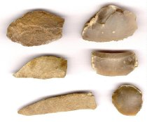 Image of Six palaeolithic flint scrapers from Wigtownshire, Scotland
