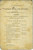 Image of Toast list from a luncheon given by the Burgh of Greenock to Captain Rhind.