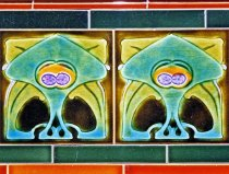 Image of Art Nouveau style ceramic tiles at Largs