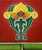 Image of Art Nouveau style ceramic tile in Greenock