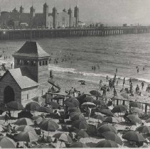 Image of The Santa Monica Pier and Beach - circa 1924