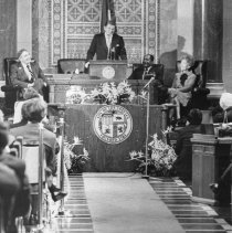 Image of President-elect Ronald Reagan Addressing Los Angeles City Council - 1981/01/14