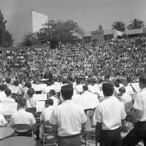 Image of School Band and Students at Santa Monica High School Amphitheatre - 1964
