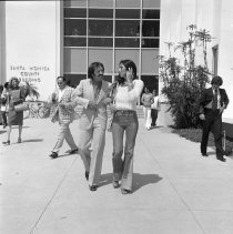 Image of Singers Sonny and Cher Outside the Santa Monica Courthouse - 1974/05/28