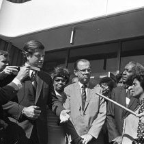 Image of Senator Kennedy Meeting the Press in Compton - 1971/05/18