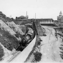 Image of Southern Pacific Railroad Train Exiting Tunnel Near Arcadia Hotel - 1890s