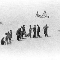 Image of The Press Awaiting President Kennedy, Santa Monica Beach - 1962