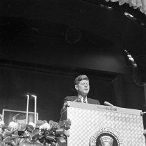 Image of President Kennedy Speaking at Hollywood Palladium - 1962