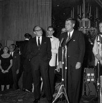 Image of President Kennedy and Jack Benny at the Beverly Hilton Hotel - 1962