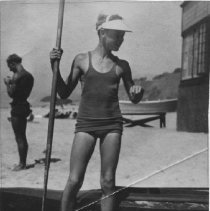 Image of John D. Farquhar With Paddle and Canoe - undated